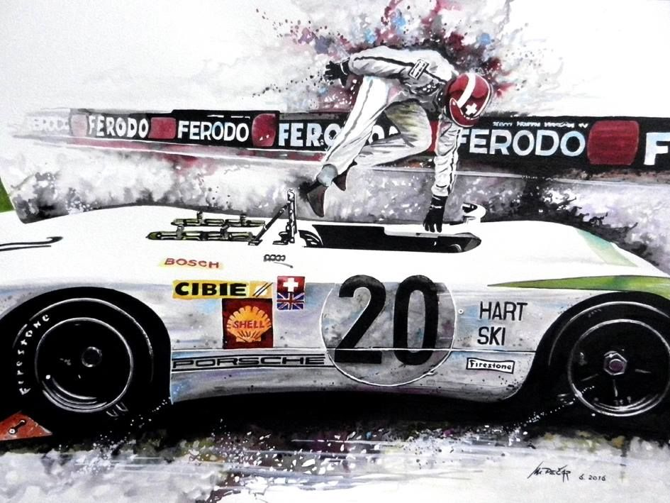 motor racing art seppi on porsche 908 in the 1969 le mans 24h watercolor painting 42 x 56 cm. Black Bedroom Furniture Sets. Home Design Ideas