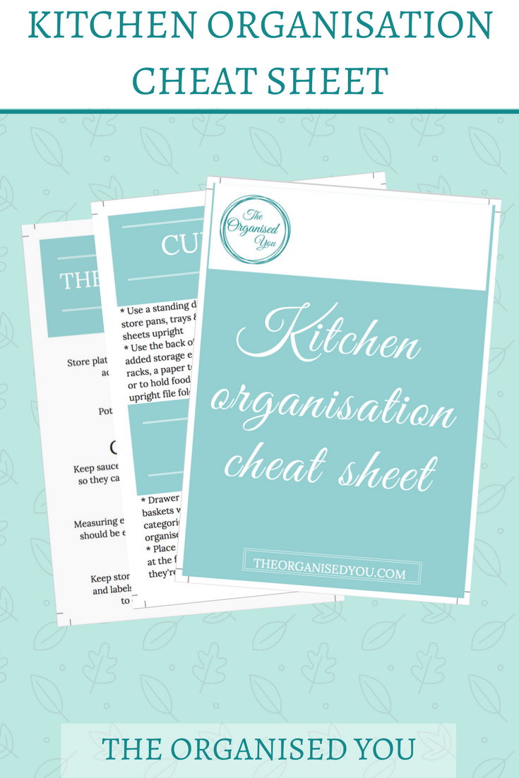 FREE kitchen organisation cheat sheet {The Organised You}