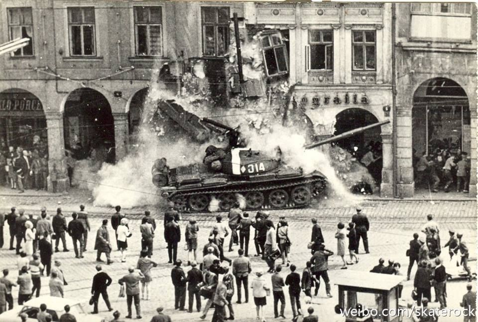 Tank ramming into hotel Radnice in Liberec, during Warsaw pact invasion into Czechoslovakia 21. August 1968