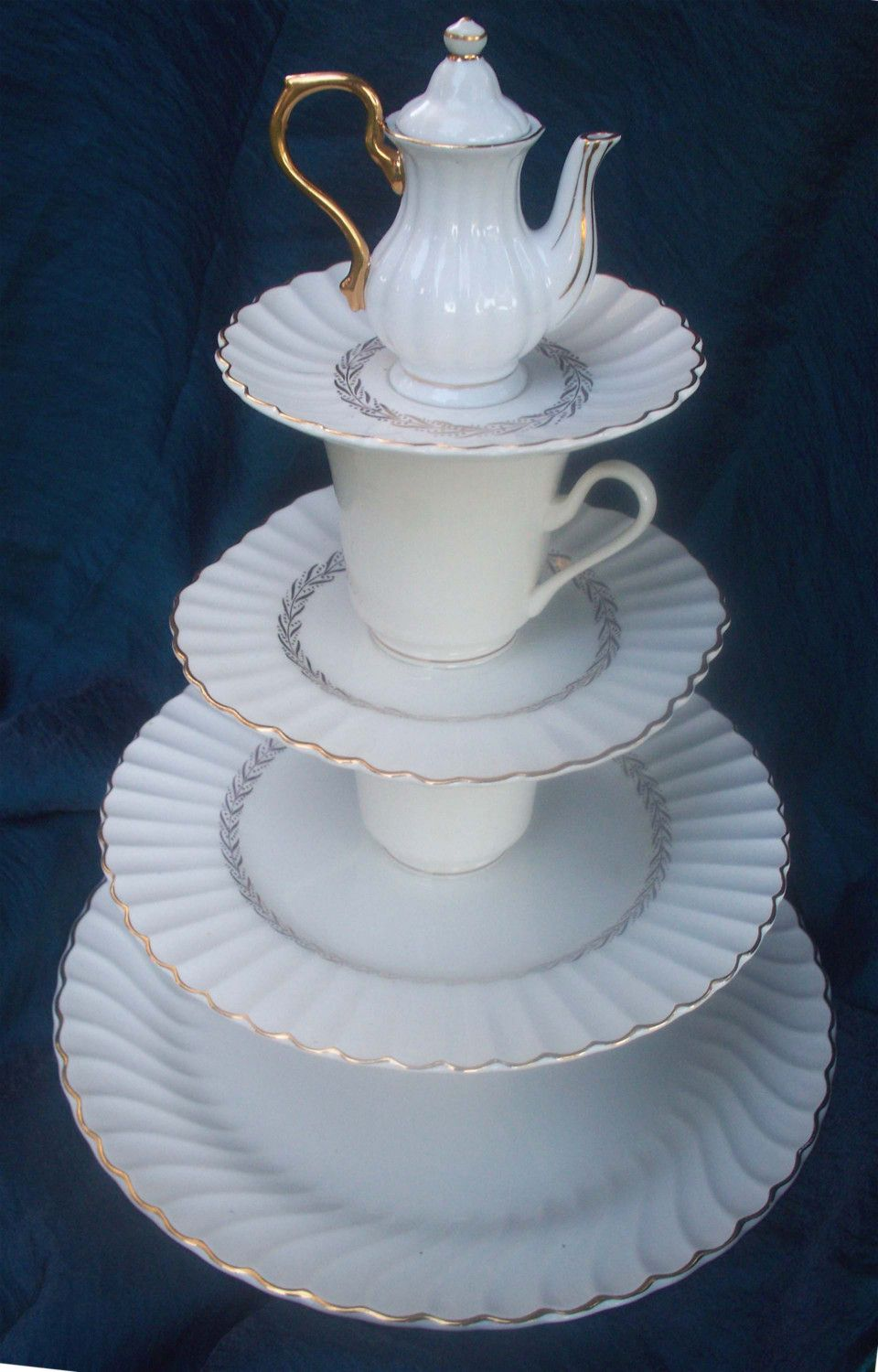 Totally Tea Time 4 Tier Tea Party Serving Tray From Vintage China One Of A Kind Etsy Diy Party Serving Trays Tiered Serving Trays Tea Party