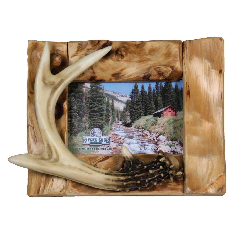 River\'s Edge Fir Root Deer Antler Picture Frame 510, Brown | Outlet ...