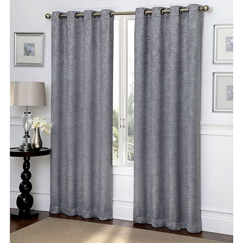 Ironwork Scroll Embossed Blackout Grommet Curtain Panel Grommet