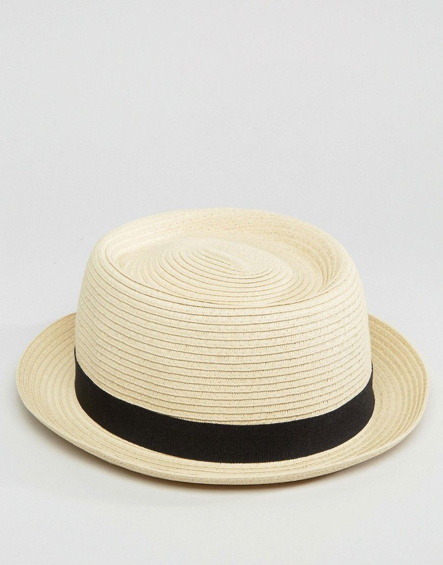 ASOS Straw Pork Pie Hat In Beige - Beige  c99857fbb14