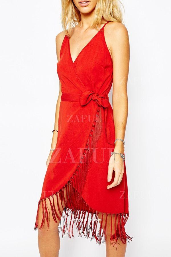 Fringe Splicing Belt Sleeveless Dress RED: Dresses 2015 | ZAFUL