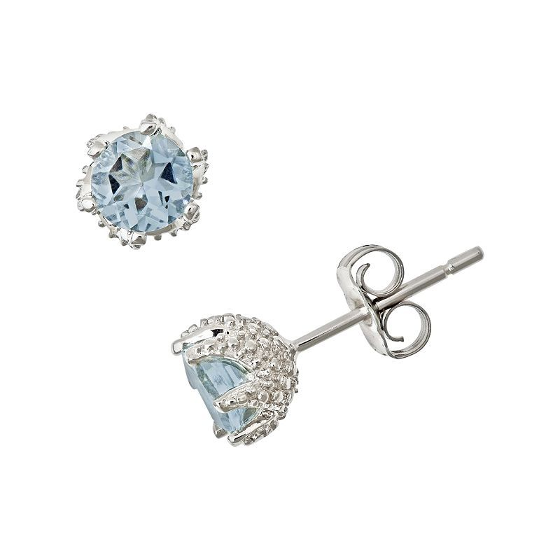 f15704767 Sterling Silver Aquamarine Stud Earrings in 2019 | Products ...