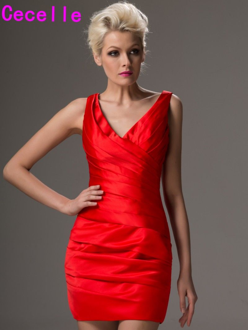 Simple red pleated satin mini cocktail dresses high school v neck