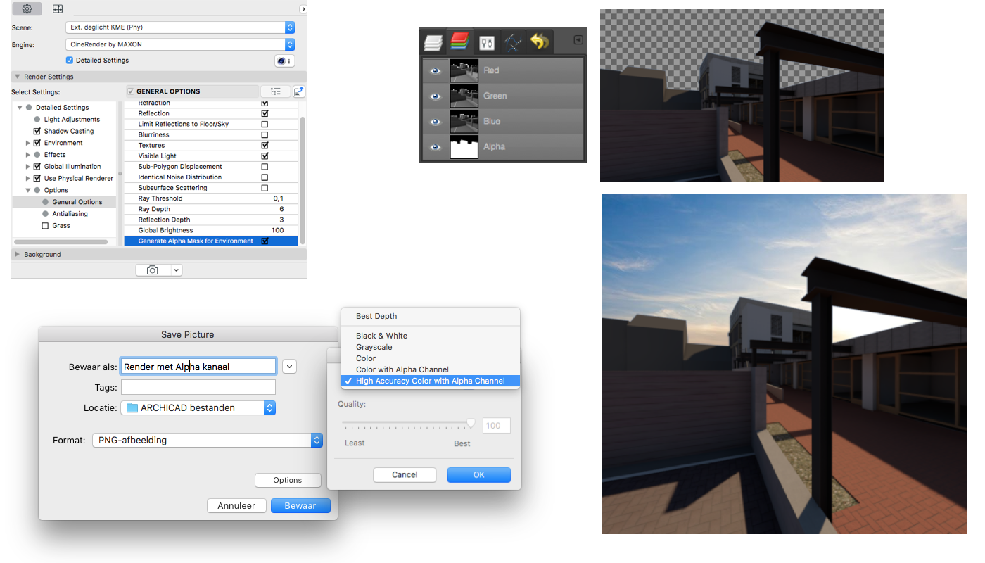 Je kunt met ARCHICAD een Cinema Rendering maken inclusief Alphakanaal. Daarmee kan de achtergrond eenvoudig worden ingewisseld voor een eigen afbeelding. Maak een Rendering met de optie Detailed Settings > Options > General Options > Generate Alpha Mask for Environment. Maak een render en sla deze op met de Options > High Accuracy Color with Alpha Channel. Bewerk het resulterende bestand in een beeldbewerking programma.