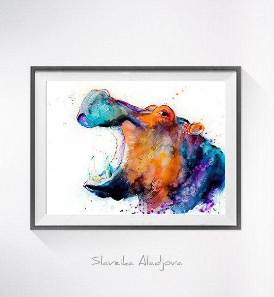 Nilpferd-Aquarell drucken Hippo-Kunst Kunst tierischen von SlaviART