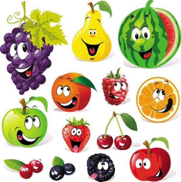 Caricatura Vetor De Expressao De Frutas Carteles Infantiles
