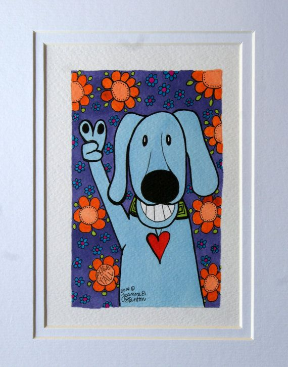 Original ink drawing, peace dog, dog art, whimsical, fun, happy, colorful, heart, flowers, blue dog, smile, orange flowers, peace sign