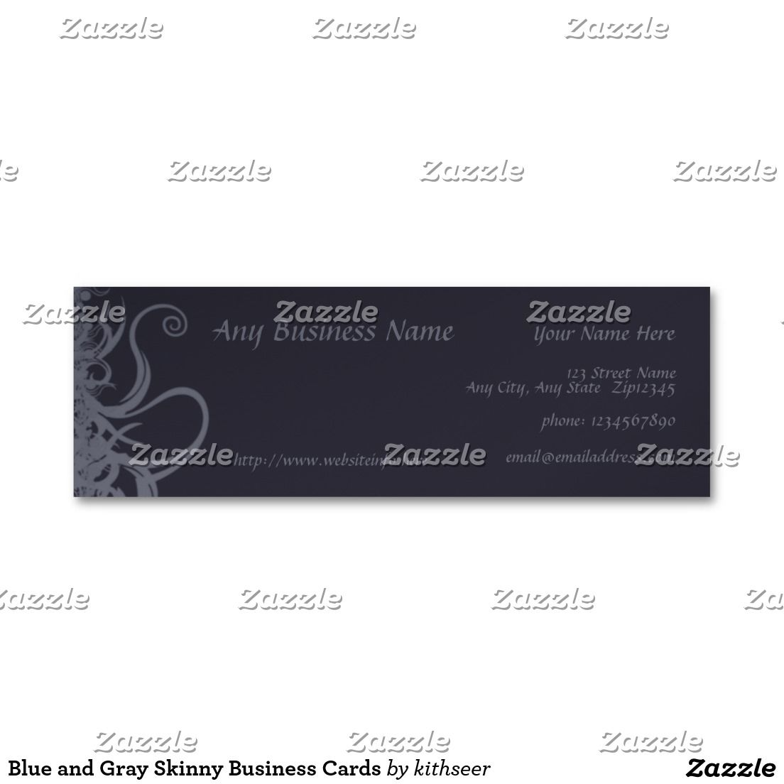 Blue and Gray Skinny Business Cards | Business Card Templates ...
