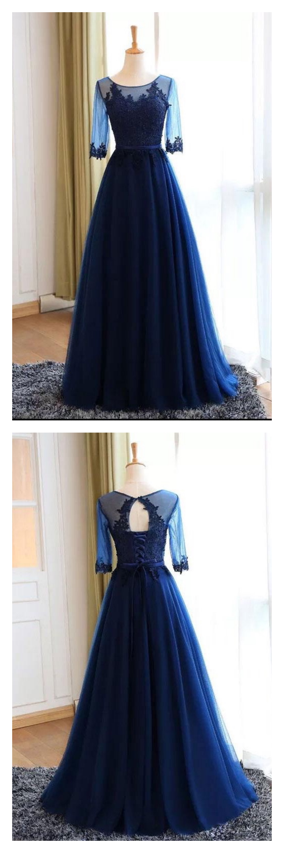 Royal blue a line long tulle prom dresses with sleevesed