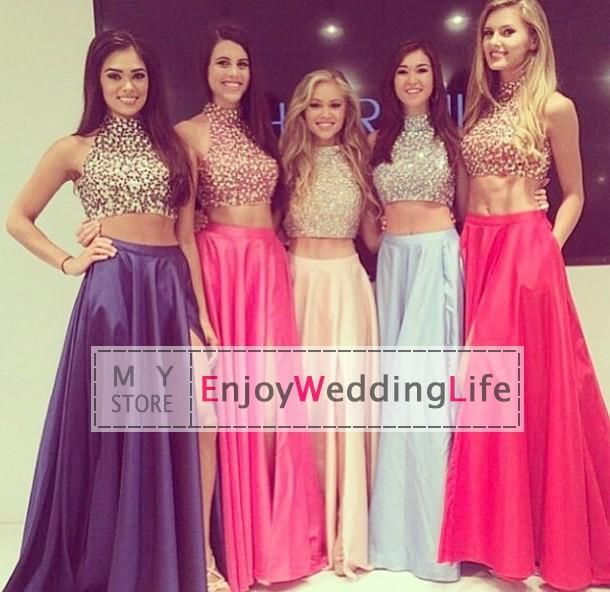 Wholesale Prom Dresses - Buy Two Pieces! 2015 Sexy New High Neck ...
