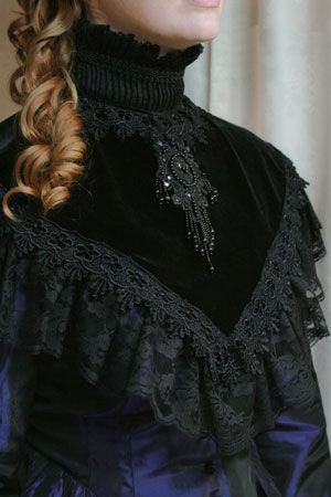 Black Velvet Victorian High Collar Price 64 00 With Shirred Fl Lace Off Shoulder And Ruffled