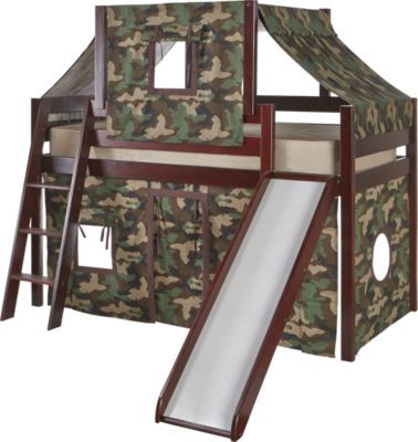 Camo Cabin Cherry Loft Bed W Slide And Tent Loft Bed Bunk Beds Bedroom Furniture Stores