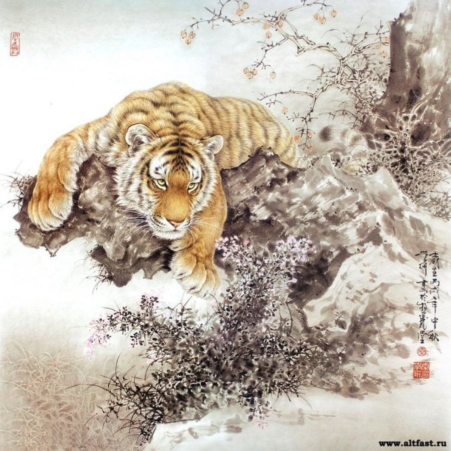 Животные в картинах в технике гохуа от художника Tang Jiang
