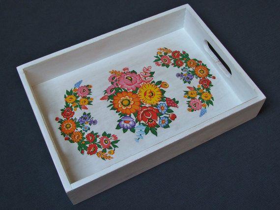 Handmade Tray Decoration Cool Handmade  Polish Folk Design  Decoupaged Wooden Serving Tray Review