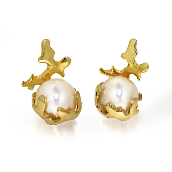 C 14k Gold Earrings Pearl Unique Freshwater Stud Bridal