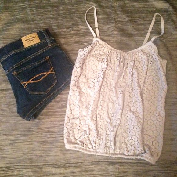 Light Gray Cotton Lace Tank Gently used but no damage or major signs of wear. Super soft & comfy. Adjustable spaghetti straps. Great for summer! Hollister Tops Tank Tops
