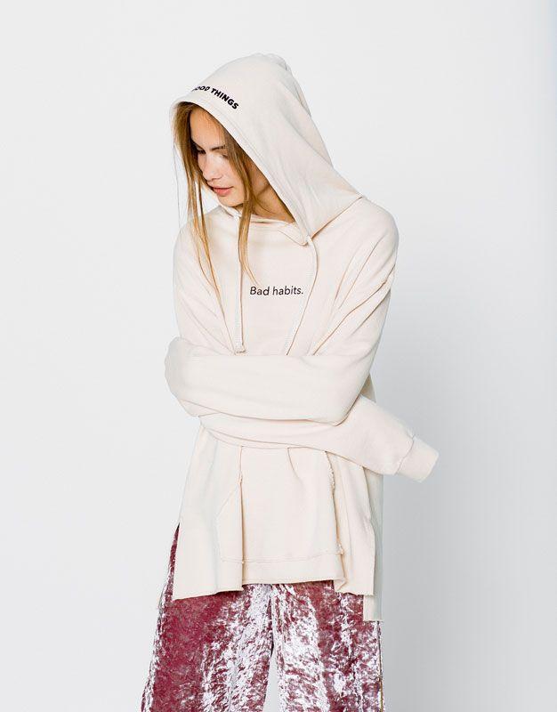 Pull&Bear - damen - neu - sweatshirt mit schriftzug hinten - sand - 09590327-I2016