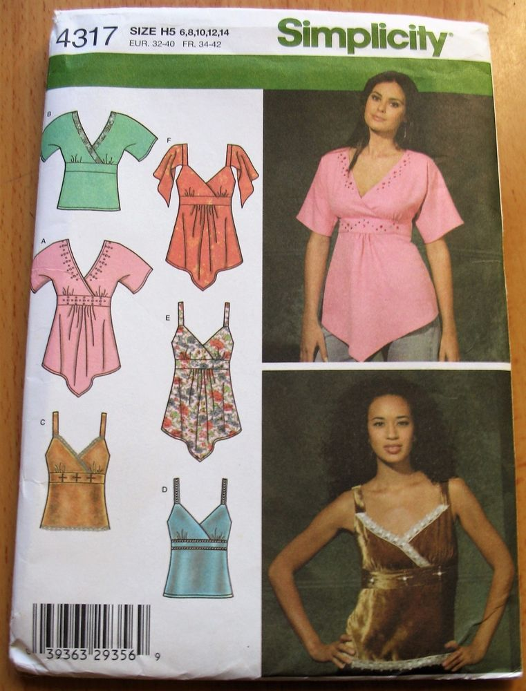 Simplicity New Sewing Pattern No 4317 Ladies Tops Sizes 681012