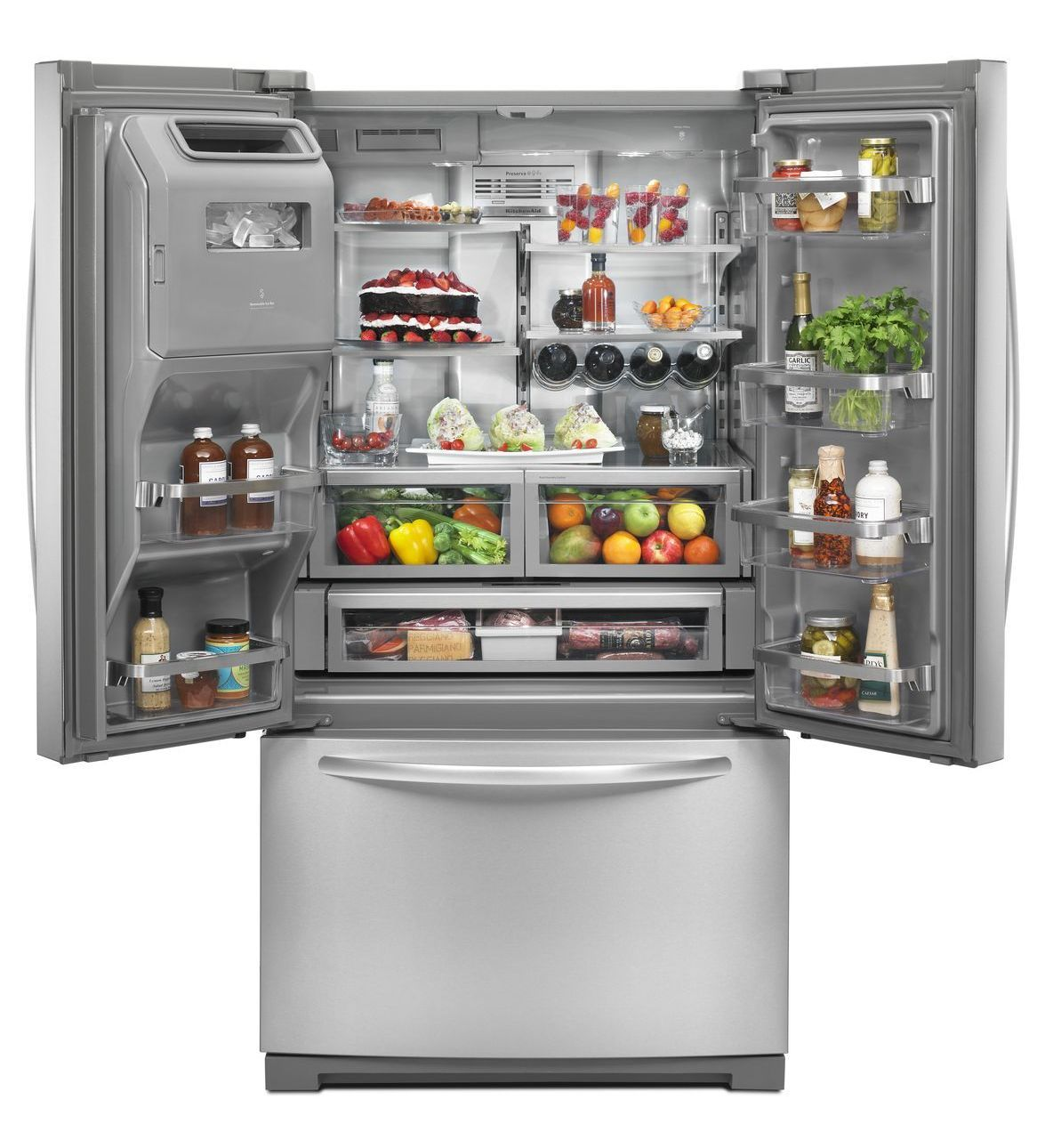 freezer bottom refrigeration ice with and exterior cu refrigerator french kitchenaid kitchen refrigerators door ft aid