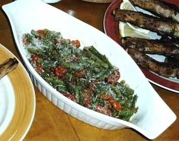 Roasted Green Beans, Onions, and Tomatoes