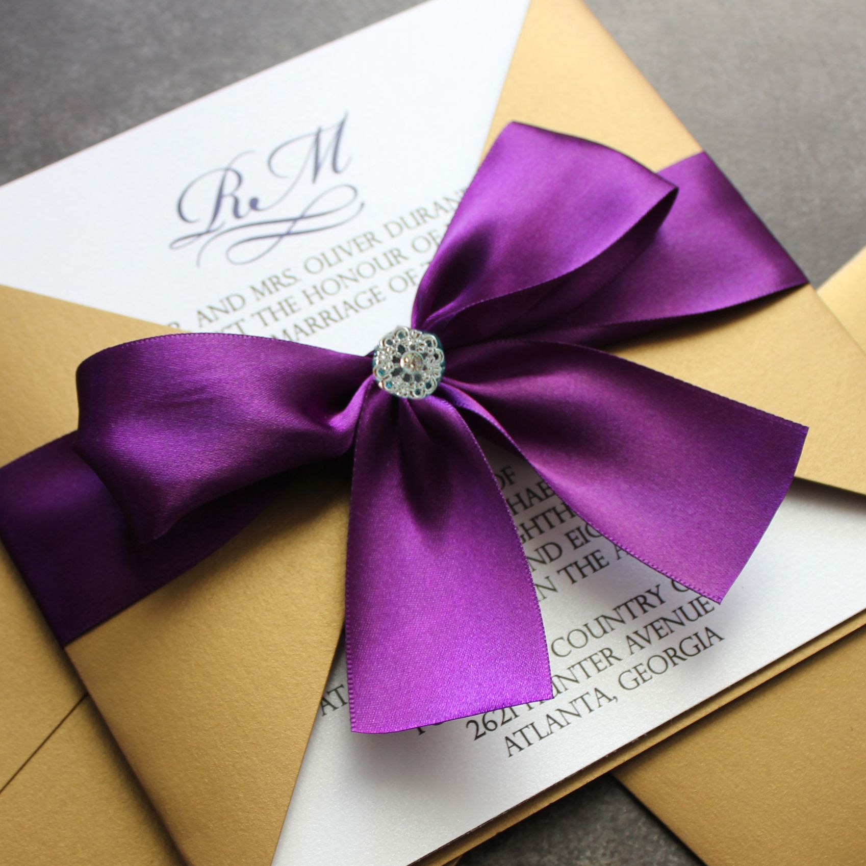 box wedding invitations online%0A Gold and Purple Wedding Invitations