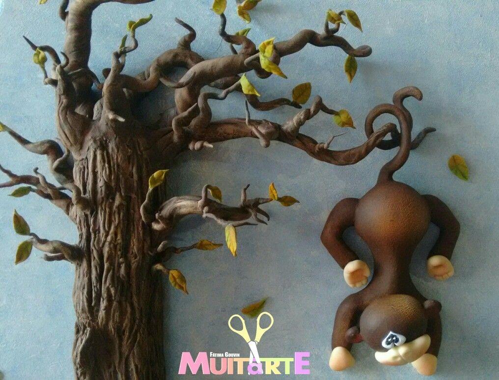Peça decorativa de quarto infantil. Safari floresta macaco árvore.
