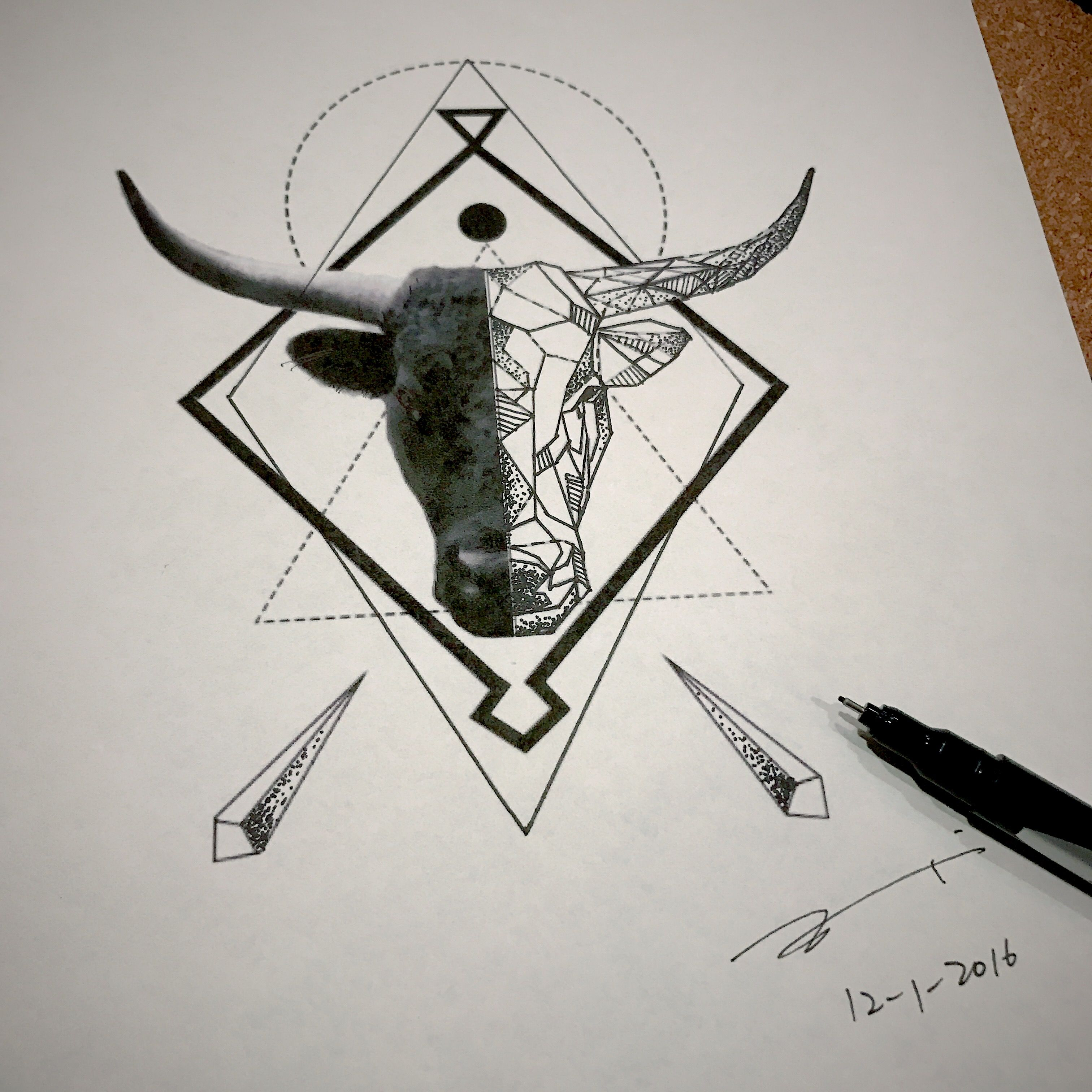Geometric Bull Head Tattoo Design By Esther C Because There Aren T A Lot Of Them Available And We Need Them Geometric Tattoo Head Tattoos Bull Tattoos