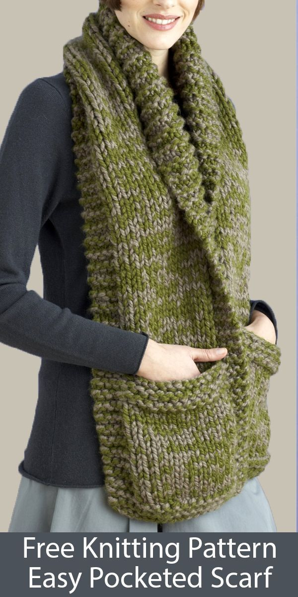 Free Knitting Pattern für Easy Pocketed Scarf in Super Bulky Yarn #patronsendentelle