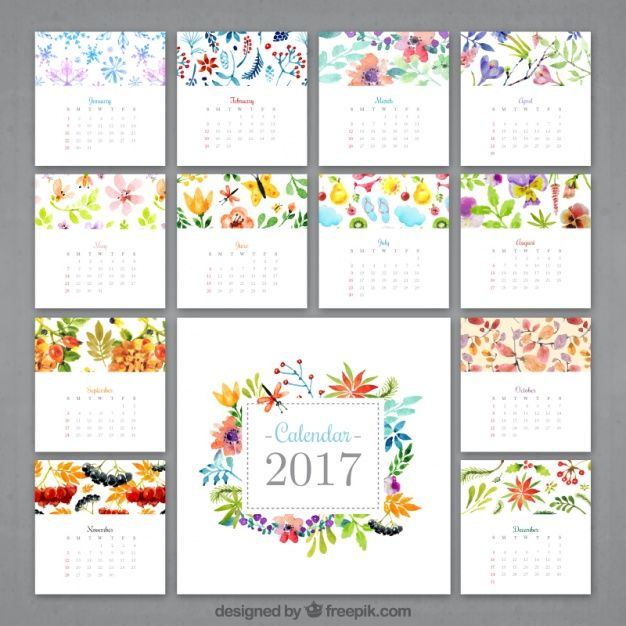 aguarela calendário florido 2017 Bullet journals, Bullet and Planners