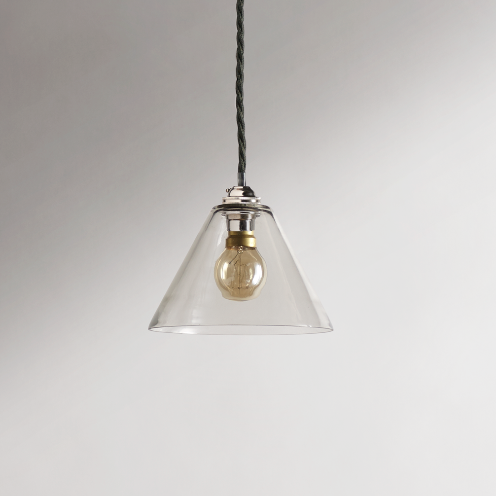 Hazelette Pendant In Clear Glass With Classic Pendant Light Kit In
