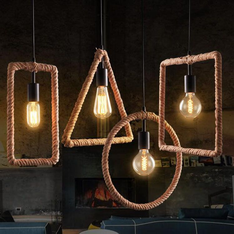 Photo of Details about Industrial Hemp Rope Frame Chandelier Dining Room Pendant Ceiling Lamp Fixture