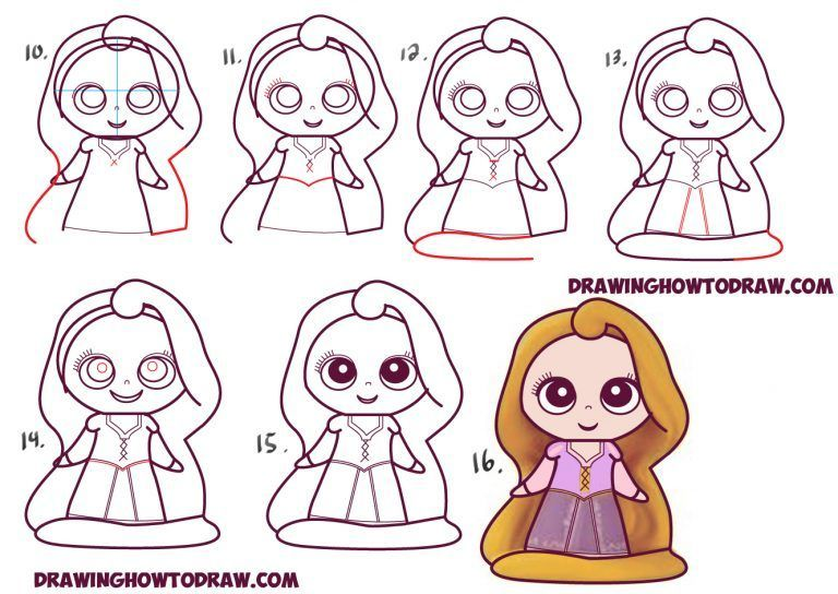 Learn How To Draw Kawaii Chibi Rapunzel From Disney S Tangled In Simple Steps Drawing Lesson Cute Easy Drawings Disney Drawings Cute Drawings