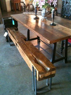 dinning table love the materials used and rustic feel