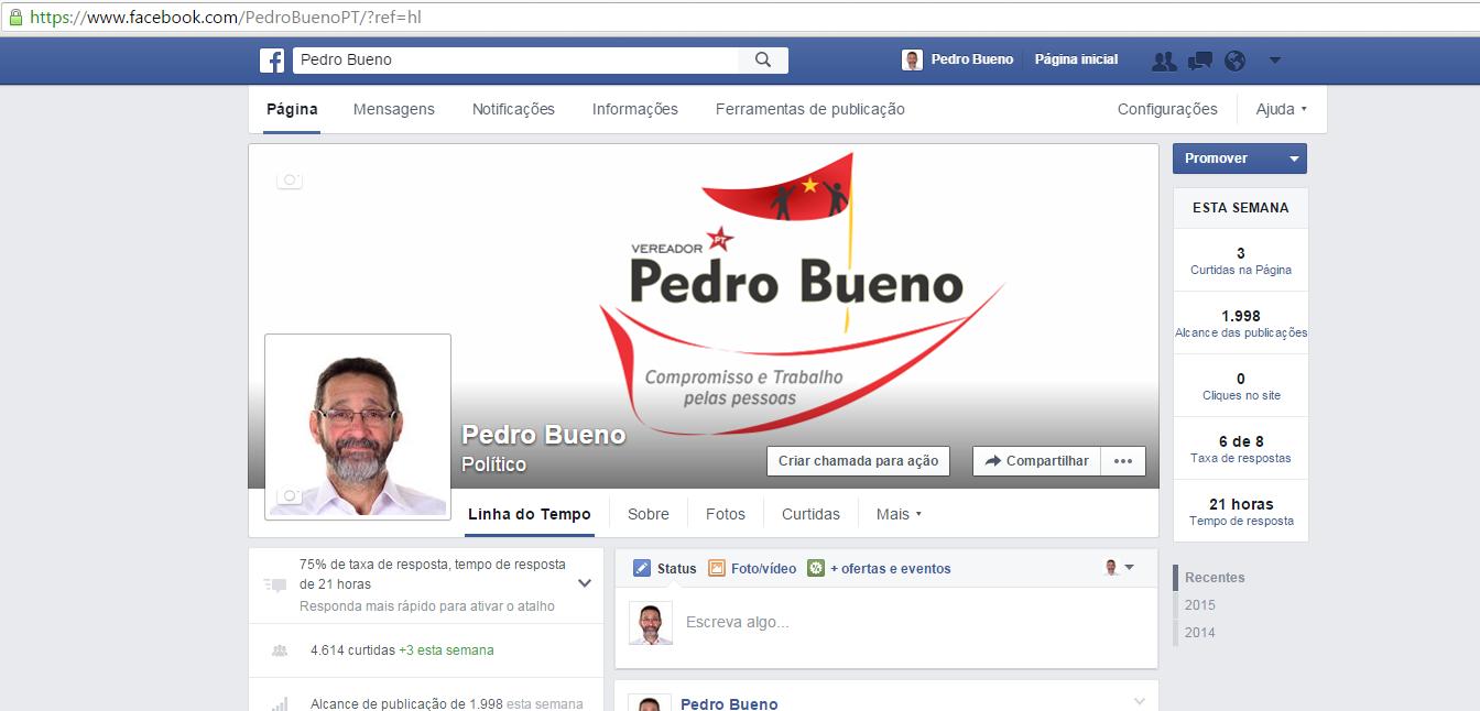 Página do Facebook do vereador Pedro