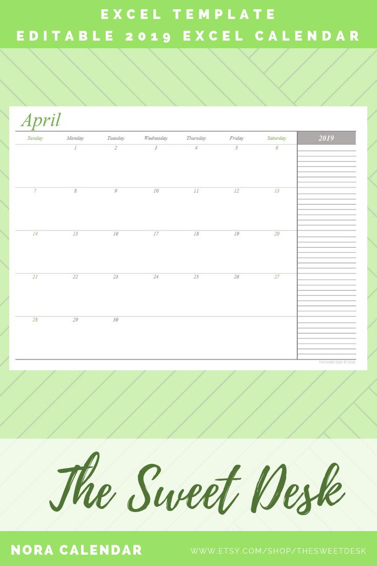 EDITABLE 2019 Calendar, Printable Excel Calendar Template
