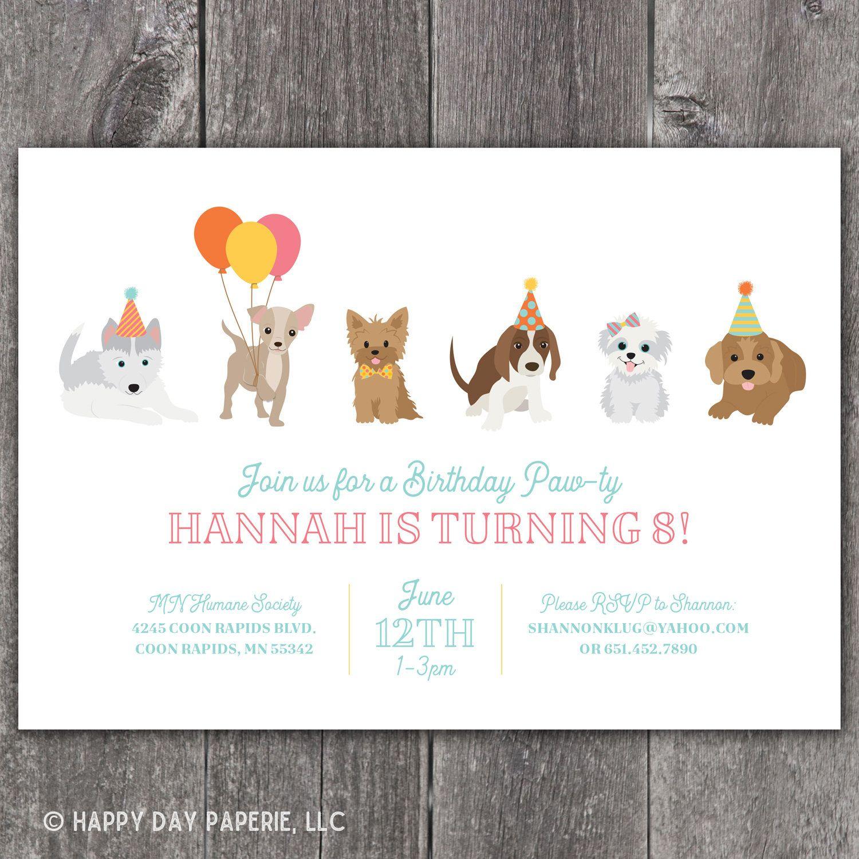 Puppy Birthday Party Invitation Dog Birthday Party Invite Etsy In 2020 Puppy Birthday Parties Puppy Birthday Party Invitations Dog Party Invitations