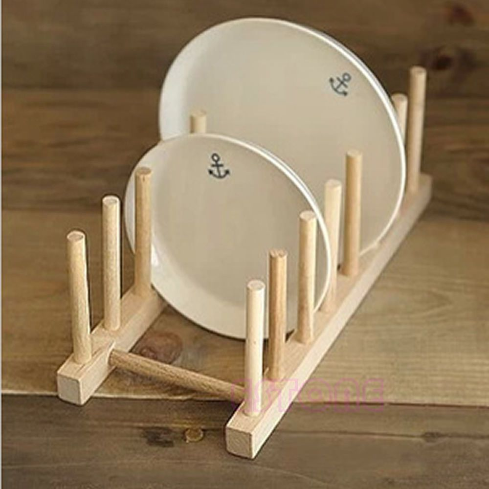 Wooden Drainer Plate Dish Rack Holder Stand Plates Drying Storage Kitchen Tool & Wooden Drainer Plate Dish Rack Holder Stand Plates Drying Storage ...