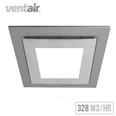 ventair airbus square with led light 250 ceiling exhaust fan silver - Bathroom Exhaust Fan With Light