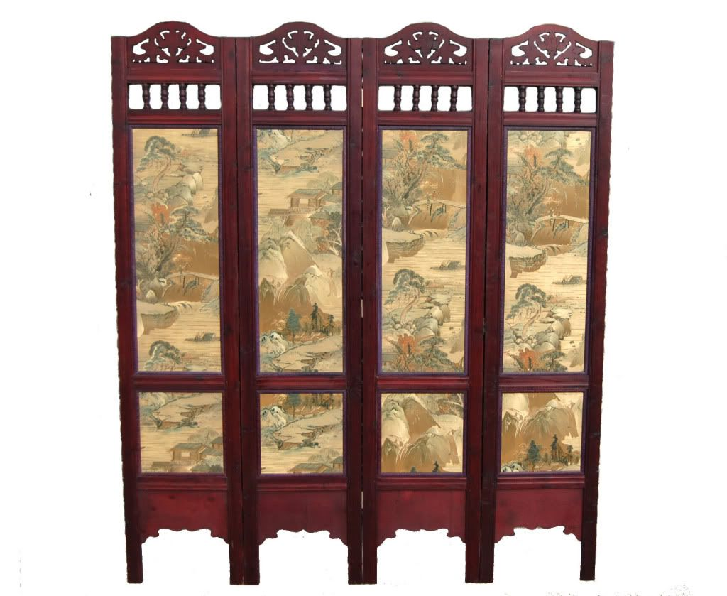 Chinese screens room dividers oriental style screen room for Painted screens room dividers