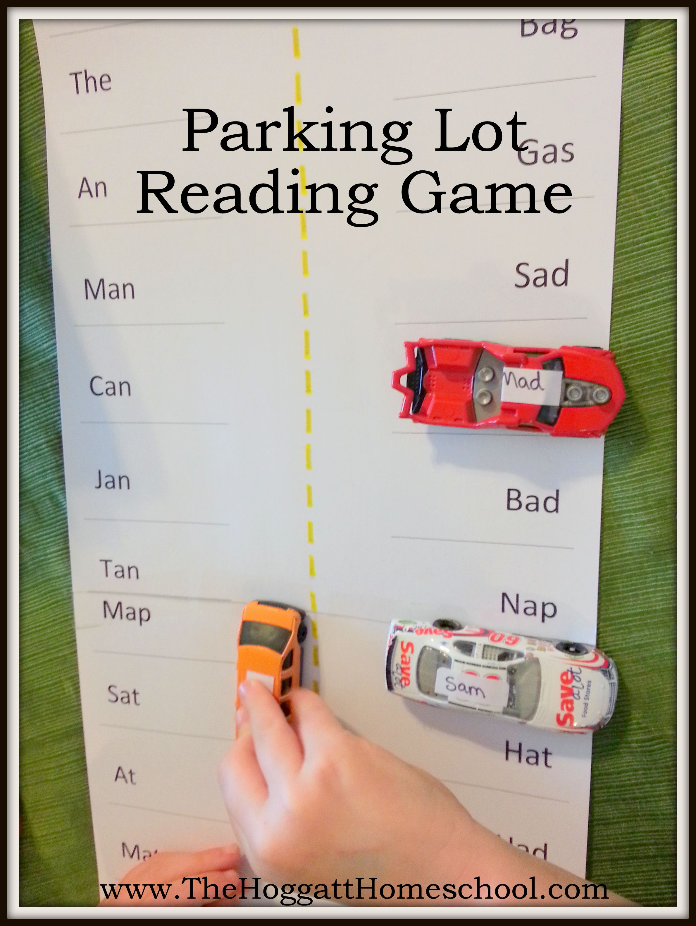 Free Printable Parking Lot Reading Game Can Be Used With