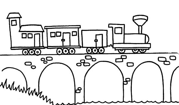 Steam Train Passing The Bridge Coloring Page Netart Train Coloring Pages Coloring Pages Steam Trains