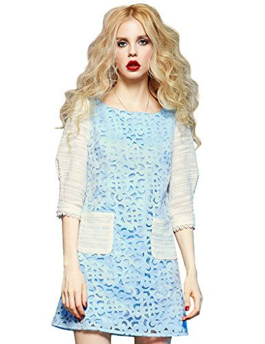 Girls Spring Summer Lace Dress Three-quarter Sleeve H-line Blue