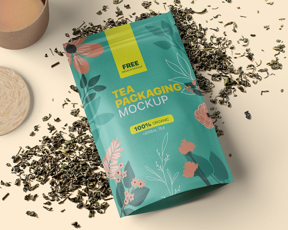 Download Free Tea Packaging Pouch Mockup Free Package Mockups Tea Packaging Free Packaging Mockup Free Tea
