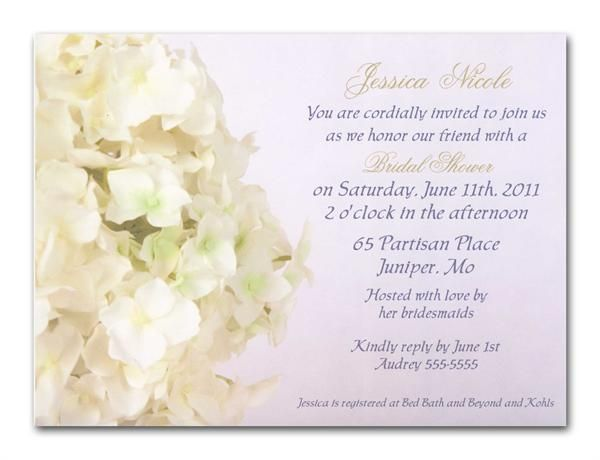 White Hydrangea Bridal Shower Invitation   bridal shower ...