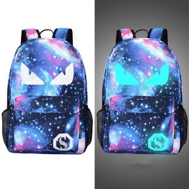 Unisex Backpack Night Luminous Students School Book Bags Galaxy Printed