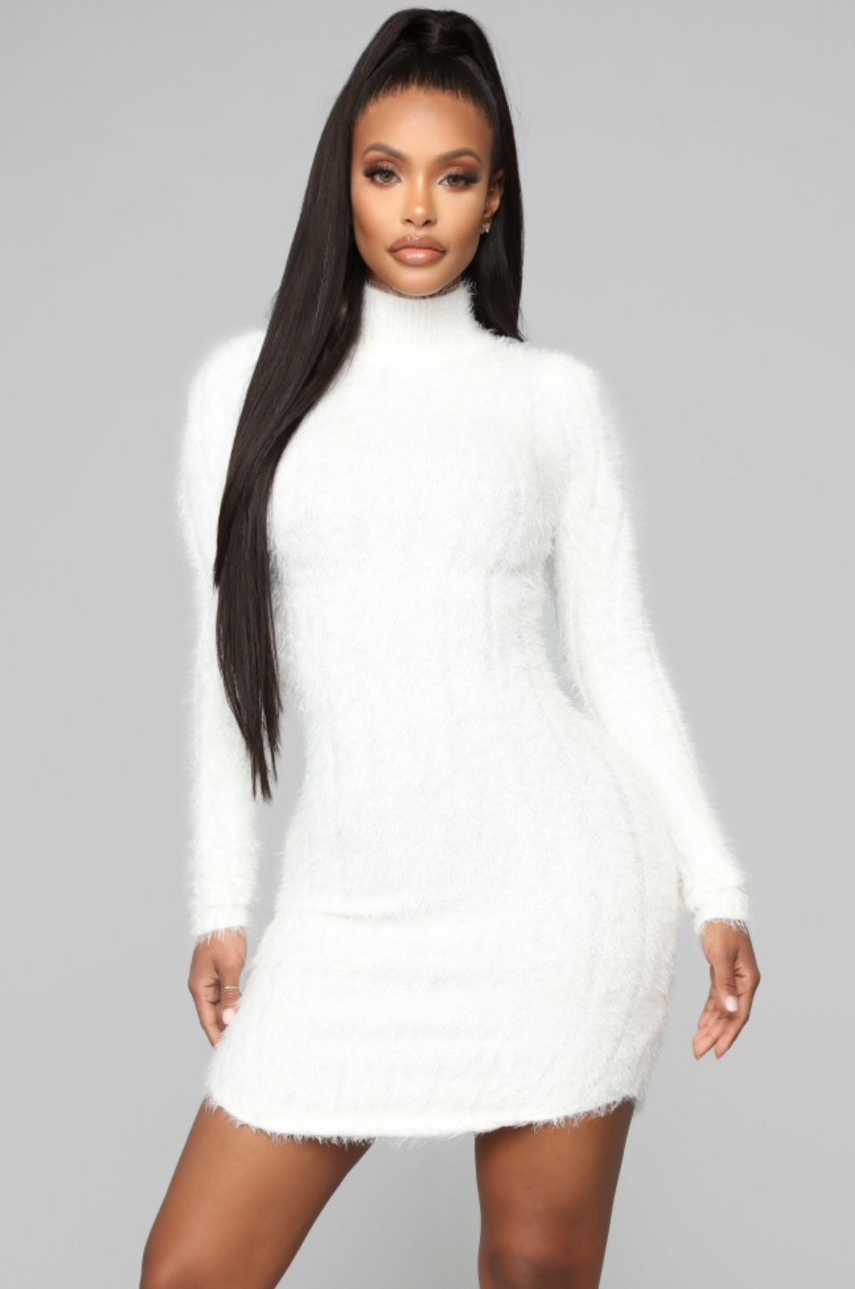 Feel Me Up Fuzzy Sweater Dress White White sweater