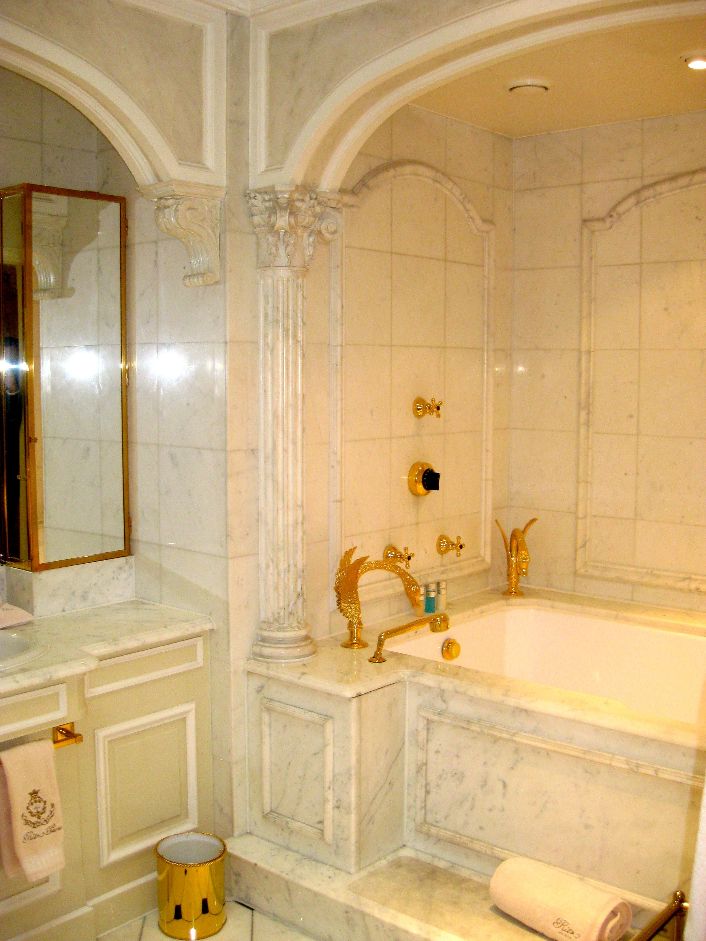 A Bathroom At The Hotel Le Ritz In Paris Note The Gold